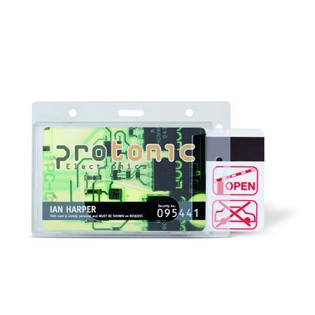 Azonosítókártya tartó, műanyag, fekvő, 71x105 mm, 3L