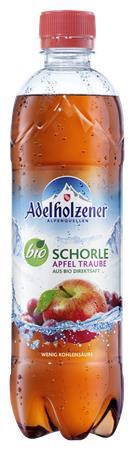 Üdítőital, enyhén szénsavas, 0,5 l, ADELHOLZENER, Bio Schorle , alma-pirosszőlő