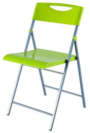 Összecsukható szék, fém és műanyag, ALBA Smile zöld
