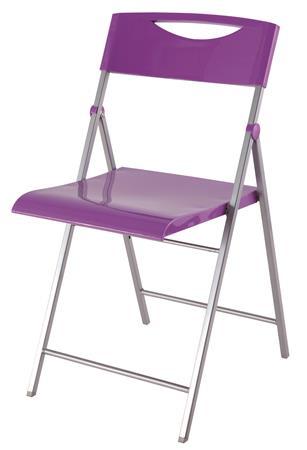 Összecsukható szék, fém és műanyag, ALBA Smile lila