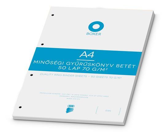 Gyűrűs könyv betét, A4, sima, 50 lap, BOXER, fehér