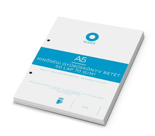 Gyűrűs könyv betét, A5, kockás, 50 lap, BOXER, fehér
