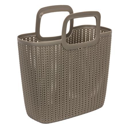 Kötött hatású bevásárló táska, CURVER Knit, barna