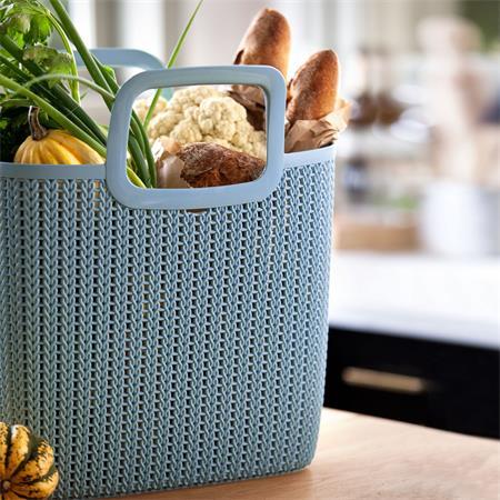 Kötött hatású bevásárló táska, CURVER Knit, kék