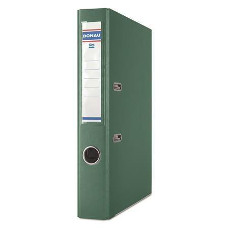 Iratrendező, 50 mm, A4, PP/karton, élvédő sínnel, DONAU Master, zöld