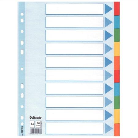 Regiszter, karton, A4, 10 részes, írható előlappal, ESSELTE Standard, színes