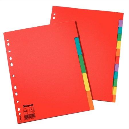 Regiszter, karton, A4, 5 részes, ESSELTE Economy, színes