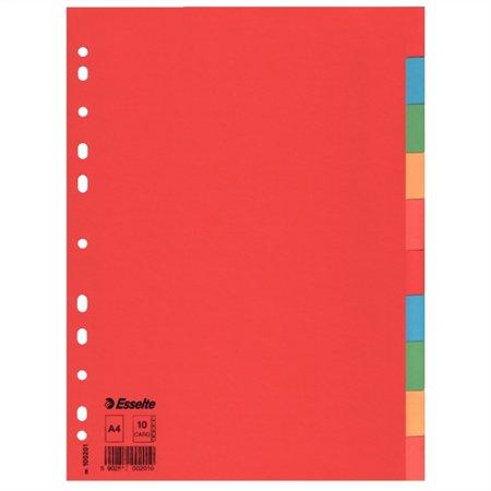 Regiszter, karton, A4, 10 részes, ESSELTE Economy, színes