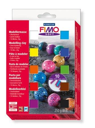 Gyurma készlet, 10x25 g, égethető, FIMO Soft Material Pack, vegyes színek