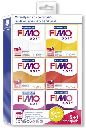 Gyurma készlet, 6x57 g, égethető, FIMO, Soft Colour Pack, meleg színek