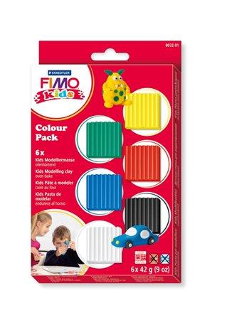Gyurma készlet, 6x42 g, égethető, FIMO Kids Color Pack, 6 alapszín