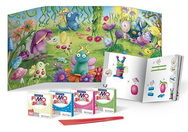 Gyurma készlet, 4x42 g, égethető, FIMO Kids Form & Play,bogarak