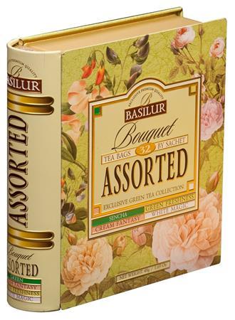 Zöld tea, filteres, 4x8x1,5 g, fém könyv dobozban, BASILUR Bouquet Assorted