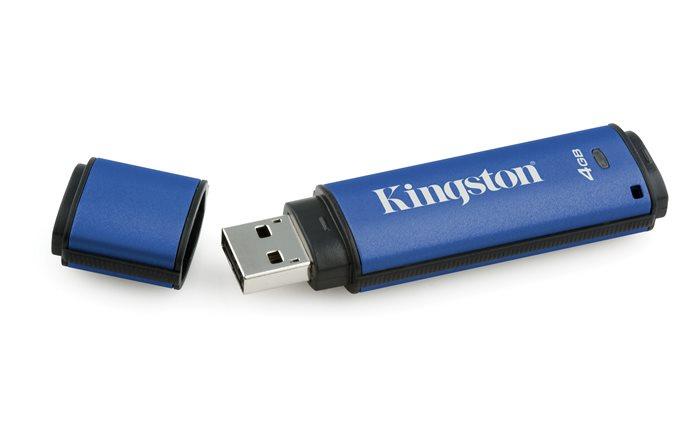 Pendrive, 4GB,  USB 3.0, 256 bit titkosítás, KINGSTON Vault Privacy, kék