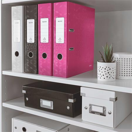 Iratrendező, 80 mm, A4, PP/karton, lakkfényű, LEITZ 180 Wow, rózsaszín
