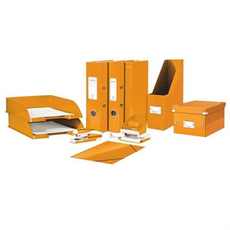 Iratrendező, 80 mm, A4, PP/karton, lakkfényű, LEITZ 180 Wow, narancssárga