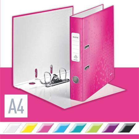 Iratrendező, 52 mm, A4, PP/karton, lakkfényű, LEITZ 180 Wow, rózsaszín