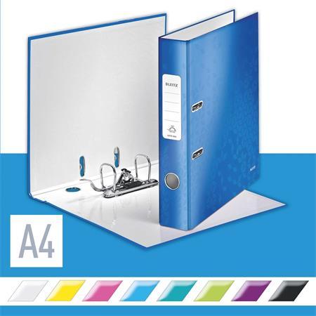Iratrendező, 52 mm, A4, PP/karton, lakkfényű, LEITZ 180 Wow, kék