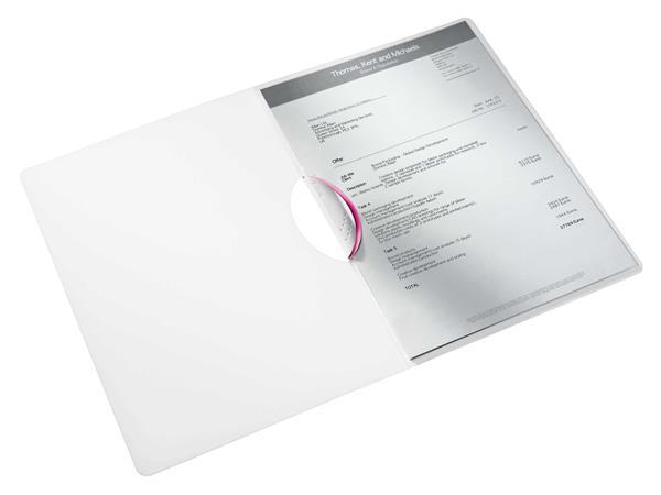 Gyorsfűző, klipes, PP, A4, LEITZ Wow ColorClip rózsaszín