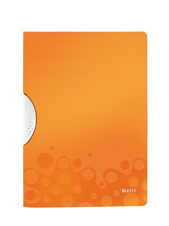 Gyorsfűző, klipes, PP, A4, LEITZ Wow ColorClip narancssárga