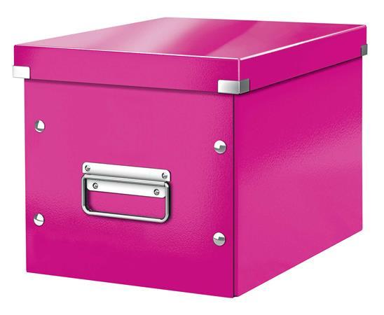 Tároló doboz, lakkfényű, M méret, LEITZ Click&Store, rózsaszín