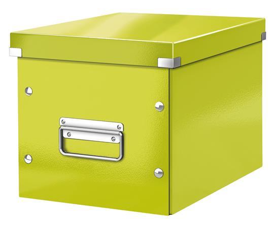 Tároló doboz, lakkfényű, M méret, LEITZ Click&Store, zöld