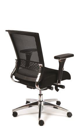 Irodai szék, állítható karfás, fekete szövetborítás, magas, hálós háttámla, aluminium lábkereszt, MAYAH Power