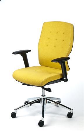 Irodai szék, állítható karfával, sárga szövetborítás, alumínium lábkereszt, MAYAH Sunshine