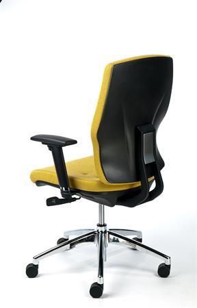 Irodai szék, állítható karfával, sárga szövetborítás