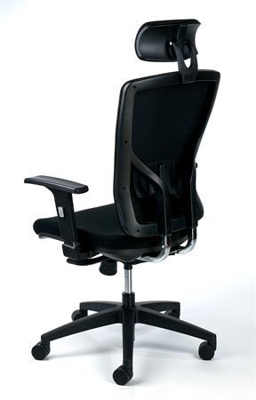 Irodai szék, állítható karfával, fekete szövetborítás, feszített hálós háttámla, fekete lábkereszt, MAYAH Greg