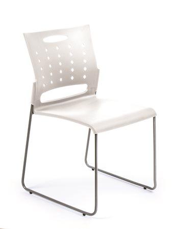 Tárgyalószék, műanyag ülőlap és háttámla, acélváz, MAYAH Simply, fehér