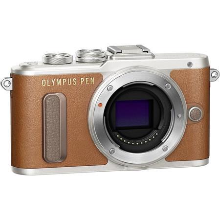 Fényképezőgép, barna váz,  OLYMPUS E-PL8