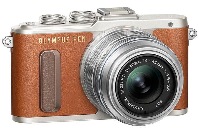 Fényképezőgép, barna váz,  EZ-M1442EZ ezüst objektív, OLYMPUS E-PL8 Pancake Zoom Kit