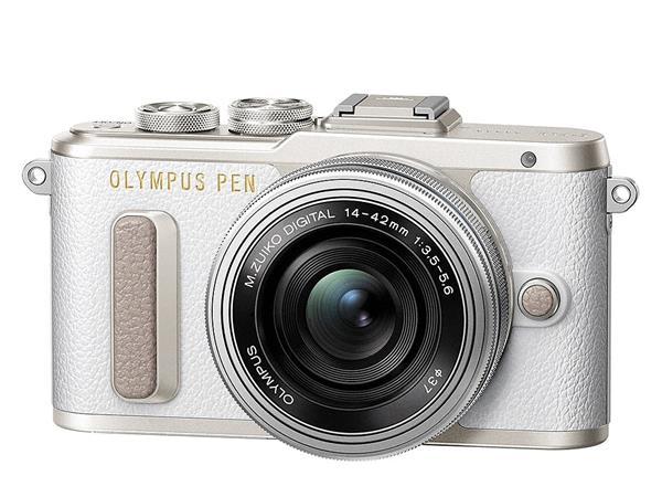 Fényképezőgép, fehér váz, EZ-M1442EZ ezüst objektív, OLYMPUS E-PL8 Pancake Zoom Kit