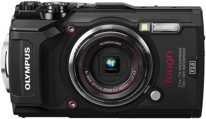 Fényképezőgép, szabadtéri sportokhoz, 12 MP, 4x zoom, OLYMPUS TG-5, fekete
