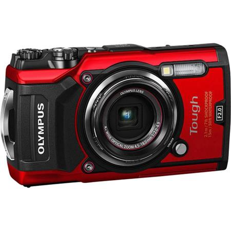 Fényképezőgép, szabadtéri sportokhoz, 12 MP, 4x zoom, OLYMPUS TG-5, piros