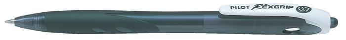 Golyóstoll, 0,27 mm, nyomógombos, PILOT Rexgrip, fekete
