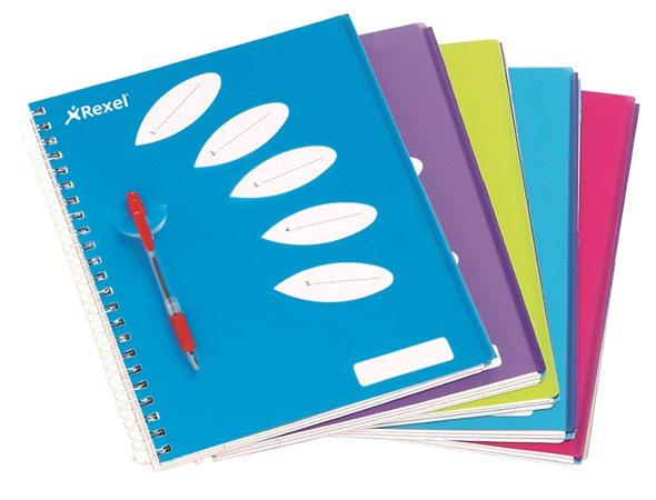 Spirálfüzet, A4, vonalas, 125 lap, 5 részes, REXEL Joy, kék