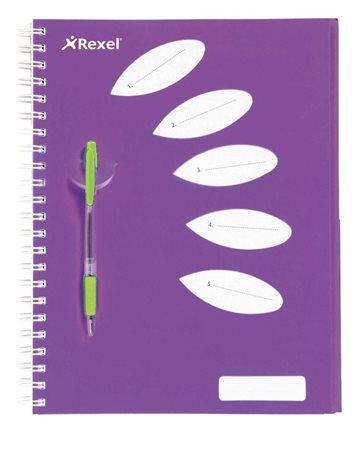 Spirálfüzet, A4, vonalas, 125 lap, 5 részes, REXEL Joy, lila