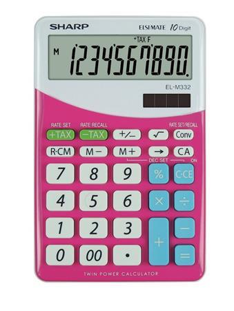 Számológép, asztali, 10 számjegy, SHARP EL-M332, pink