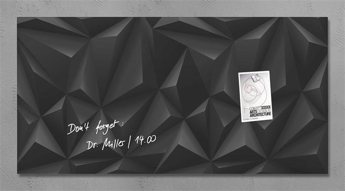 Mágneses üvegtábla, 91x46 cm, SIGEL Artverum® , fekete gyémánt mintázat