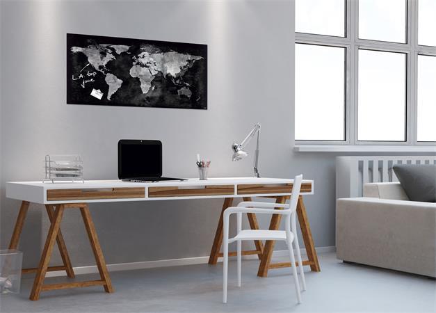 Mágneses üvegtábla, Világtérképpel, 46x91 cm, SIGEL Artverum® , fekete