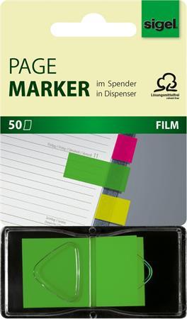 Jelölőcímke, műanyag, Z, 50 lap, 25x45 mm, SIGEL, zöld