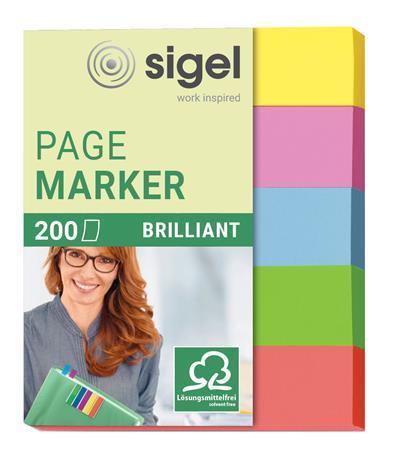 Jelölőcímke, papír, 5x40 lap, 12x50 mm, SIGEL Brilliant Mini, vegyes szín