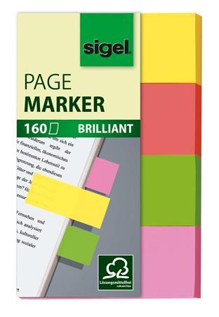 Jelölőcímke, papír, 4x40 lap, 20x50 mm, SIGEL Multicolor, vegyes szín