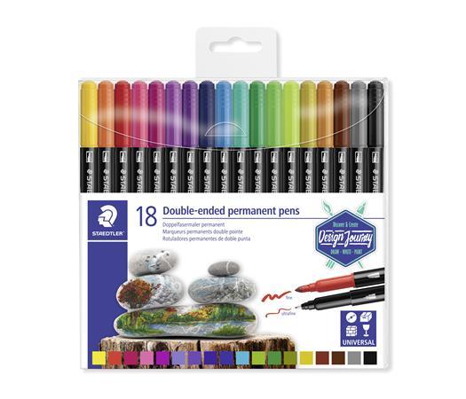 Alkoholos marker készlet, kétvégű, 0,4/2,0 mm, STAEDTLER Twin-tip, 18 különböző szín