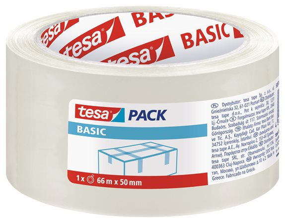 Csomagolószalag, 50 mm x 66 m, TESA Basic, átlátszó