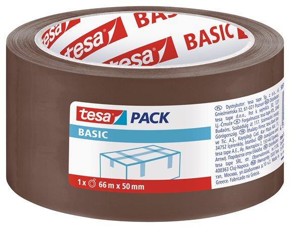 Csomagolószalag, 50 mm x 66 m, TESA Basic, barna