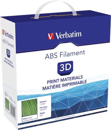 3D nyomtató kellékanyag, ABS 1,75mm, 1kg, VERBATIM, zöld