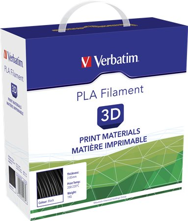 3D nyomtató kellékanyag, PLA 2,85mm, 1kg, VERBATIM, fekete